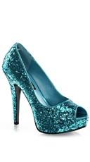 Glitter Peep Toe Pumps - Turquoise Glitter