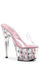 7 Inch Stiletto Heel Flower Filled Pf Slide - Clear/Baby Pink Flowers