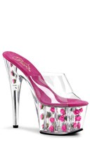 7 Inch Stiletto Heel Flower Filled Pf Slide - Clear/Hot Pink Flowers