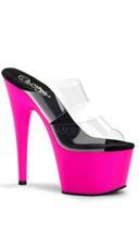 7 Inch Stiletto Heel Neon Bottom Platform Slide - Clear/Neon Pink