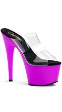 7 Inch Stiletto Heel Neon Bottom Platform Slide - Clear/Neon Purple