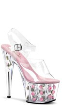 7 Inch Heel, 2 3/4 Inch Pf Ankle Strap Sandal - Clear/Baby Pink Flowers