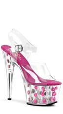 7 Inch Heel, 2 3/4 Inch Pf Ankle Strap Sandal - Clear/Hot Pink Flowers