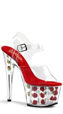 7 Inch Heel, 2 3/4 Inch Pf Ankle Strap Sandal - Clear/Red Flowers