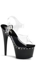 7 Inch Heel Platform Ankle Strap Sandal - Clear/Black