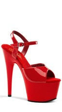 7 Inch Ankle Strap Stiletto - Red