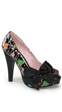 Patterned Open Toe Pump With Large Satin Bow - Black Pat-black Satin (muertos Print)