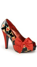Patterned Open Toe Pump With Large Satin Bow - Black Pat-red Satin (sacred Hearts)