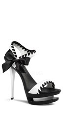 Two Tone Satin Wrapped Stiletto Sandal - White Pat-black/Black-white
