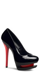 6 Inch Stiletto Heel Dual Platform Pump - Black Pat/Black-red