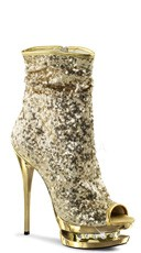 6 Inch Sequined Open Toe Ankle Boot - Gold Sequins/Gold Chrome