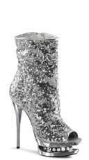 6 Inch Sequined Open Toe Ankle Boot - Silver Sequins/Silver Chrome
