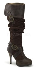 Cuffed Knee High Boots with Buckles - Brown Distressed Pu-microfiber