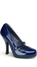 4 1/2 Heel, 3/4 Hidden P/f Mary Jane Pump - Navy Blue Pat