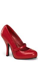 4 1/2 Heel, 3/4 Hidden P/f Mary Jane Pump - Red Patent