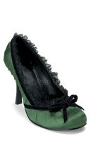 Satin Pleated Pump - Green Satin