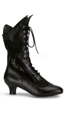 Lace Victorian Ankle Boot - Black Pu-lace