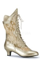 Lace Victorian Ankle Boot - Gold Pu-lace