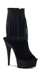 Suede Fringed Ankle Boot - Black Suede/Black Matte
