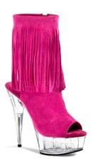 Suede Fringed Ankle Boot - Fuchsia Suede/Clear