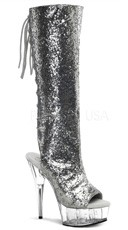 Delight Peep Toe Knee High Boot - Silver Glitter/Clear
