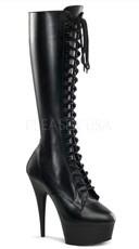 6 Inch Lace-up Stretch Platform Knee Boot with Side Zipper - Black Str Pu/Black Matte