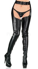 6 Inch Stiletto Heel Stretch Platform Chap Boot - Black Str Pu/Black Matte