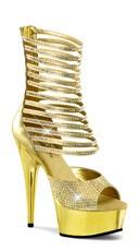 6 Inch Shimmering Ankle High Sandal - Gold Pu-Satin/ Gold Chrome