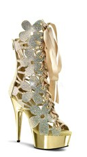 Flower Power Rhinestone Bootie - Gold V. Suede/Gold Chrome