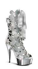 Flower Power Rhinestone Bootie - Silver V. Suede/Silver Chrome