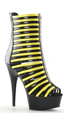 6 Inch Heel Strappy Neon Ankle Boot - Black-neon Yellow/Black