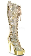 6 Inch Rhinestone Ricky Boot - Gold V. Suede/Gold Chrome