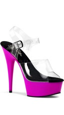 6 Inch Stiletto Heel Ankle Strap Uv Pf Sandal - Clear/Neon Purple