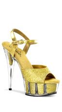 6 Inch Heel, 1 3/4 Inch Glitter Filled Pf Ankle Strap Sandal - Gold Glitter/Gold Glitter