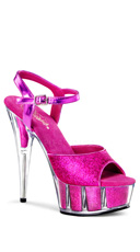 6 Inch Heel, 1 3/4 Inch Glitter Filled Pf Ankle Strap Sandal - Hot Pink Glitter/Hot Pink Glitter