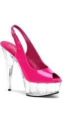 6 Inch Stiletto Heel Slingback Platform Sandal - Hot Pink/Clear