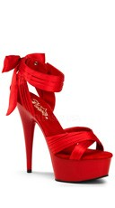 Strappy Seduction Platform Sandal - Red Satin/Red