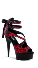 6 Inch Corset and Lace Sandal - Red Satin-lace/Black Matte