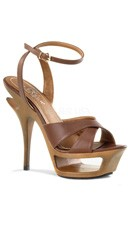 5 1/2 Inch Cut-out Platform Ankle Wrap Sandal - Brown Leather