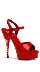 6 Inch Rhinestone Imbedded Heel Ankle Strap Platform Sandal - Red  Patent