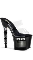 7 Inch Dice Heel and Tip Jar Sandal - Clear/Black