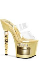 7 Inch Dice Heel and Tip Jar Sandal - Clear/Gold