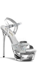 Platform Sparkle Sandals - Silver Multi Glitter/Silver Chrome