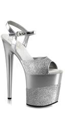 8 Inch Heel, 4 Inch Platform Ankle Strap Sandal - Silver Glitter/Silver-Glitter
