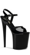 8 Inch Heel Ankle Strap Platform Sandal - Black Patent