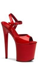 8 Inch Heel Ankle Strap Platform Sandal - Red  Patent