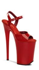9 Inch Heel, 5 1/4 Inch Platform Ankle Strap Sandal - Red