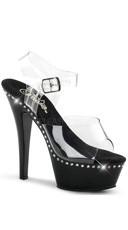 6 Inch Heel, 1 3/4 Inch Platform Ankle Strap Sandal - Clear/Black