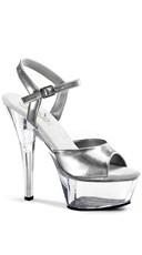 6 Inch Spike Heel Platform Sandal - White/Clear