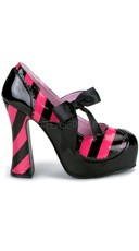 Striped Patent Chunky Heel Shoe - Black-Hot Pink Pat